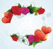 Cadre floral avec des coeurs de Valentine Images libres de droits