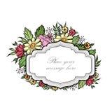 Cadre floral avec des fleurs d'été Le bouquet floral avec s'est levé, voiture Image libre de droits