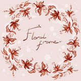 Cadre floral avec des remous Photographie stock