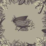 Cadre floral avec du cacao et la vanille illustration libre de droits