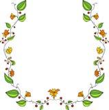 Cadre floral avec fleurs de griffonnage de dessin au trait Photo libre de droits