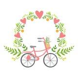Cadre floral avec l'autocollant de vecteur de coeurs, texte absent d'élément de message de jour de valentines de St de calibre av Photo stock