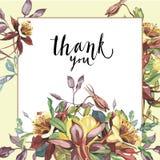 Cadre floral avec les fleurs rouges sur le fond clair Design de carte de salutation Inscription - merci EPS10 Images stock