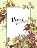 Cadre floral avec les fleurs rouges sur le fond clair Design de carte de salutation Inscription - merci EPS10 Photos stock