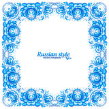 Cadre floral bleu de vintage dans le style de gzhel Image stock