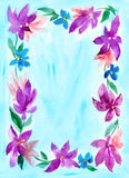 Cadre floral d'aquarelle Photo stock