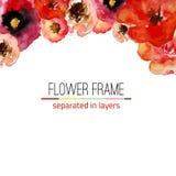 Cadre floral d'aquarelle de vecteur avec des feuilles de vintage Photo stock
