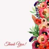 Cadre floral d'aquarelle de vecteur avec des feuilles et des fleurs de vintage Conception artistique pour des bannières, cartes d Image libre de droits