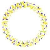 Cadre floral d'isolement sur un fond blanc Jacinthes des bois et oreilles de blé disposées en cercle illustration stock