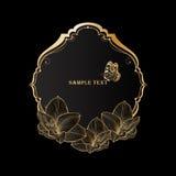 Cadre floral de beau vintage d'or avec l'amaryllis et le papillon de fleur photographie stock