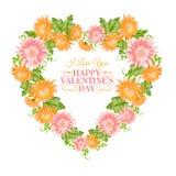 Cadre floral de coeur. Photo stock