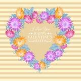 Cadre floral de coeur. Images stock