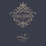 Cadre floral de frontière avec les éléments calligraphiques Photos libres de droits
