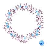 Cadre floral de guirlande avec les fleurs et les feuilles mignonnes pour la conception intérieure Vecteur d'aquarelle Photo stock