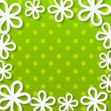 Cadre floral de papier sur le vert Photos libres de droits