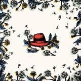 Cadre floral de pissenlit avec le chapeau rouge illustration libre de droits