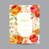 Cadre floral de vintage pour l'invitation Images libres de droits