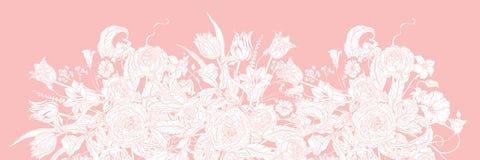 Cadre floral en pastel de vecteur illustration stock