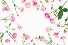 Cadre floral fait de roses, branches et feuilles roses sur le fond blanc Configuration plate, vue supérieure Composition en jour  Image libre de droits