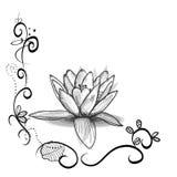 Cadre floral mignon avec la fleur de Lotus Tatouage Design Fleurs blanches noires illustration stock