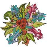 Cadre floral modelé par ornamental ethnique artistique tiré par la main Images stock