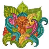 Cadre floral modelé par ornamental ethnique artistique tiré par la main illustration de vecteur