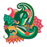 Cadre floral modelé par ornamental ethnique artistique tiré par la main Photo libre de droits