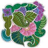 Cadre floral modelé par ornamental ethnique artistique tiré par la main Photos libres de droits