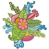 Cadre floral modelé par ornamental ethnique artistique tiré par la main Image stock