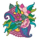 Cadre floral modelé par ornamental ethnique artistique tiré par la main illustration stock