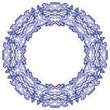 Cadre floral rond avec le modèle bleu en raison de la peinture nationale de porcelaine d'isolement sur le blanc illustration de vecteur