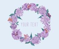 Cadre floral rond des asters pourpres avec des papillons Guirlande ronde avec l'espace pour le texte pour la conception de saison illustration de vecteur