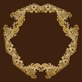Cadre floral royal fleuri d'or de vintage de vecteur Photographie stock
