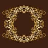 Cadre floral royal fleuri d'or de vintage de vecteur Image libre de droits