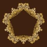 Cadre floral royal fleuri d'or de vintage de vecteur Images libres de droits