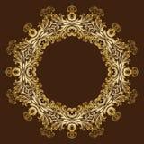 Cadre floral royal fleuri d'or de vintage de vecteur Image stock
