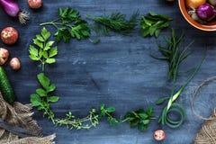 Cadre frais d'herbes sur le fond foncé : persil, aneth, céleri, thym, marjolaine, endroit pour le texte image stock