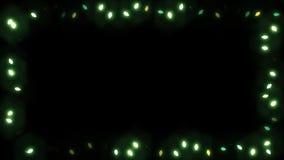 Cadre Garland Bulb - couleur verte de lumière de Christsmas banque de vidéos