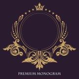 Cadre gracieux d'or Configuration florale décorative Dirigez le signe d'affaires, identité pour l'hôtel, restaurant, boutique, ca illustration de vecteur
