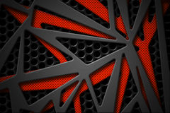Cadre gris et orange de fibre de carbone sur le backgrou noir de carbone de maille illustration de vecteur