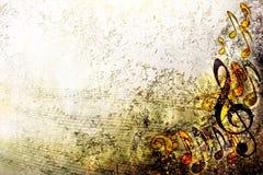 Cadre grunge de fond de texture d'argent de musique de feuille de résumé illustration stock