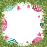 Cadre heureux de chasse à oeuf de pâques avec l'herbe et les tulipes illustration libre de droits