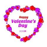 Cadre heureux de jour du ` s de Valentine se composant des coeurs rouges et violets d'isolement sur le fond blanc Photos stock