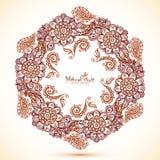 Cadre hexagonal de vecteur dans le style indien de mehndi Photos stock
