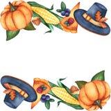 Cadre horizontal avec les éléments illustratifs d'aquarelle pour la conception de thanksgiving illustration libre de droits
