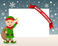 Cadre horizontal d'Elf de Noël Photographie stock libre de droits