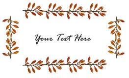 Cadre horizontal de feuilles d'automne d'isolement sur le fond blanc illustration libre de droits