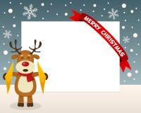 Cadre horizontal de renne de Noël Photographie stock
