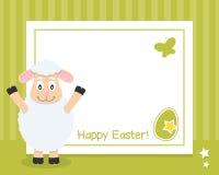 Cadre horizontal heureux de Pâques avec l'agneau Images stock