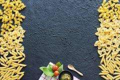 Cadre italien de pâtes Copiez l'espace Image stock